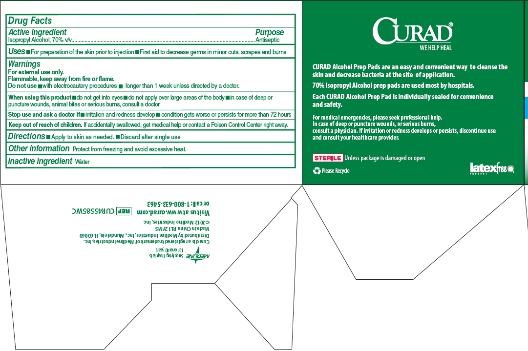 Curad Alcohol Prep Pads Package Label - Drug Facts and Side