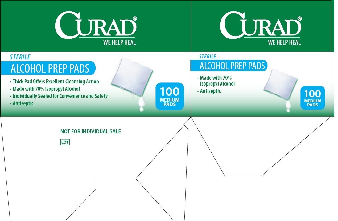 Curad Alcohol Prep Pad Package Label - Principal Display Panel and Side