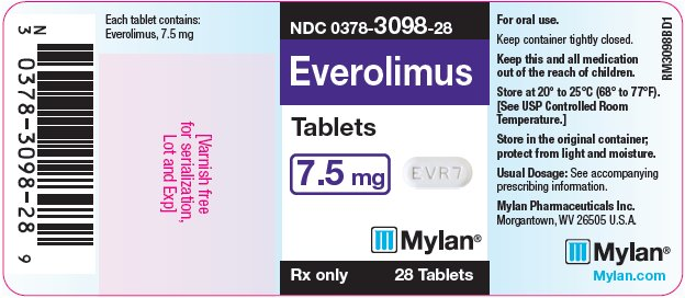 Everolimus Tablets 7.5 mg Bottle Label