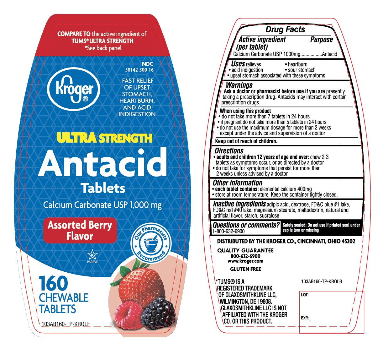 Kroger Antacid Twin Pack 160 Chewable Tablets Assorted Berry
