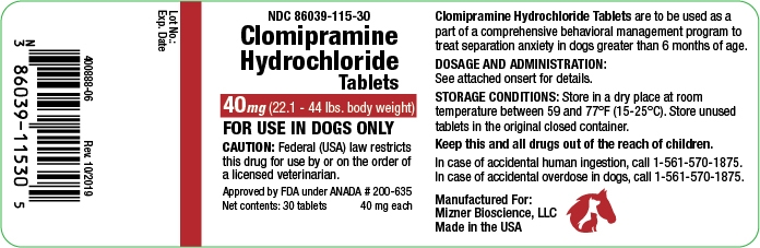 clomipramine hydrochloride 40 mg (22.1-44 lbs. body weight)