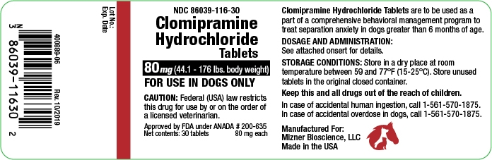 clomipramine hydrochloride 80 mg (44-176 lbs. body weight)