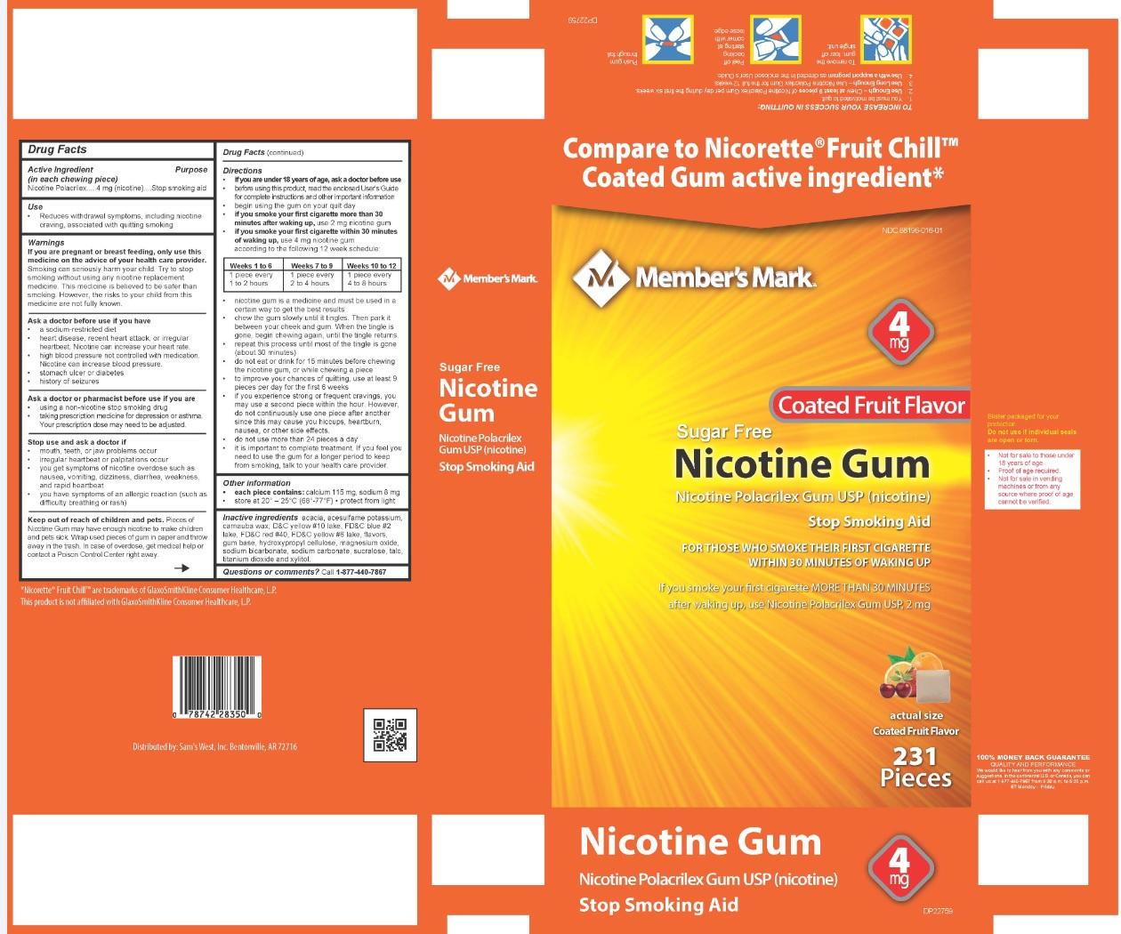 Nicotine Polacrilex Gum USP 4 mg Fruit Flavor