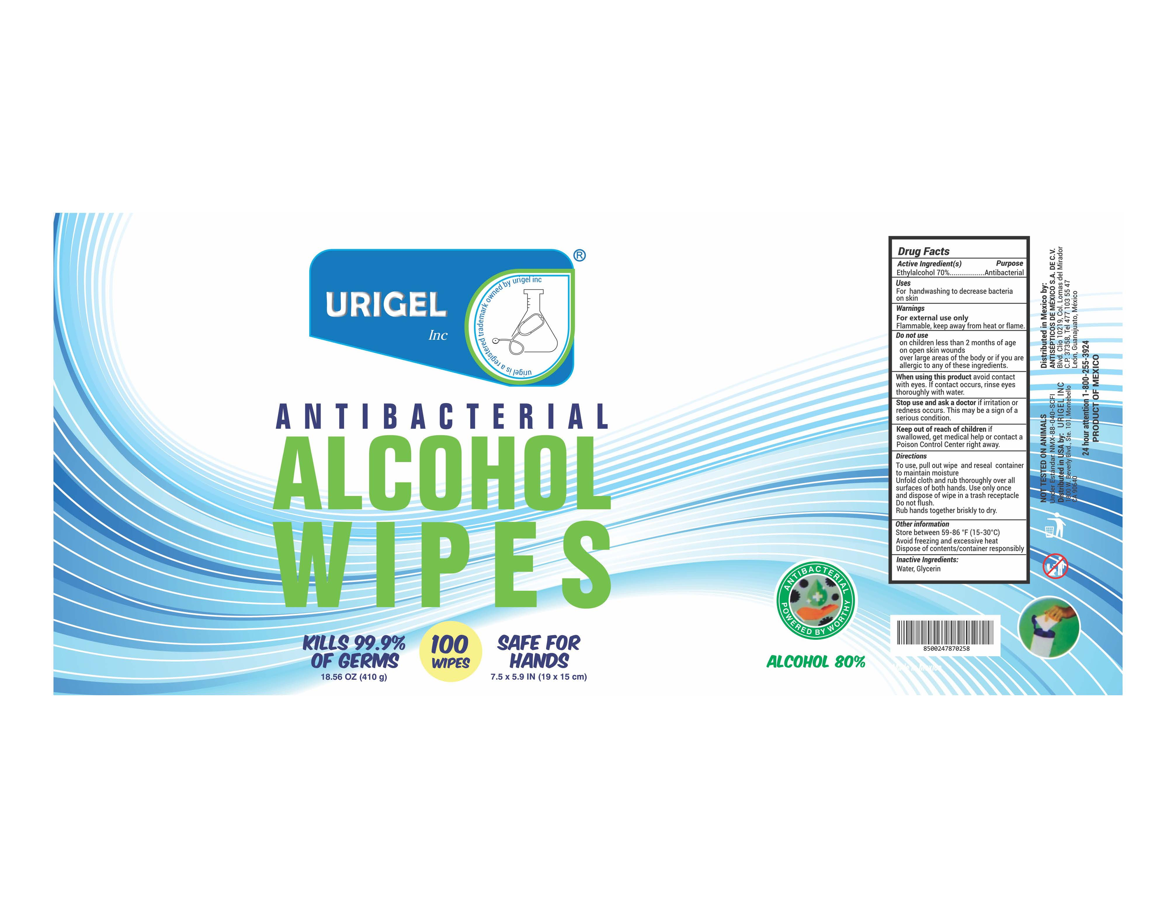 Urigel Wipes 100 each