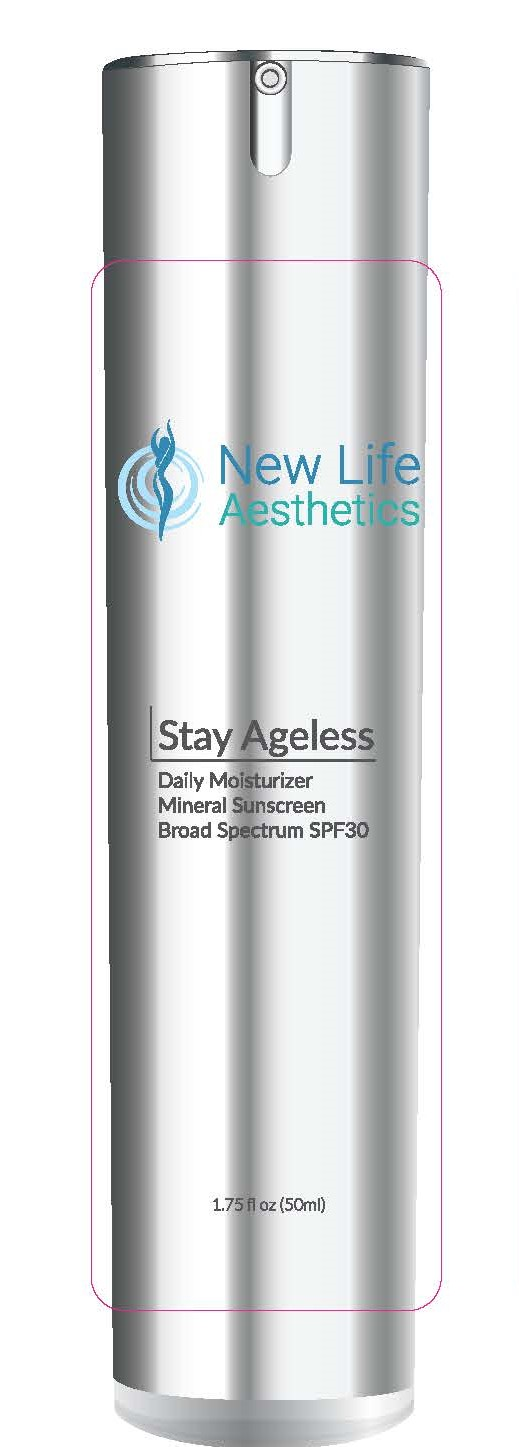 wNew Life Aesthetics  Stay Ageless daily moisturizer Mineral Sunscreen broad spectrum spf 30  1.75 Fl. Oz. (50mL)
