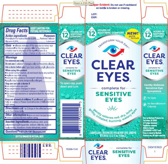 PRINCIPAL DISPLAY PANEL CLEAR EYES® complete for Sensitive eyes LUBRICANT / REDNESS RELIEVER EYE DROPS STERILE0.5 FL OZ (15 mL)