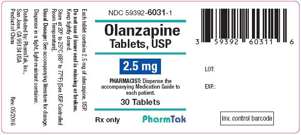 Oral olanzapine is  2.5mg 30s Label