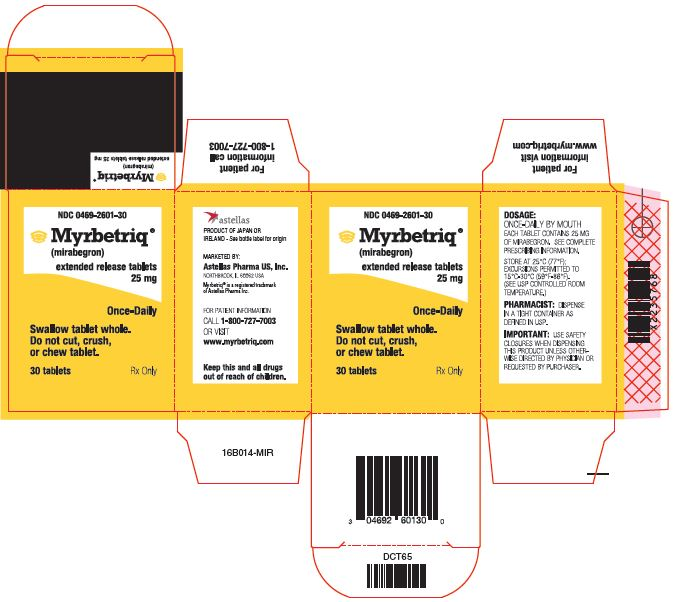 Myrbetriq (mirabegron) extended release tablets 25 mg label