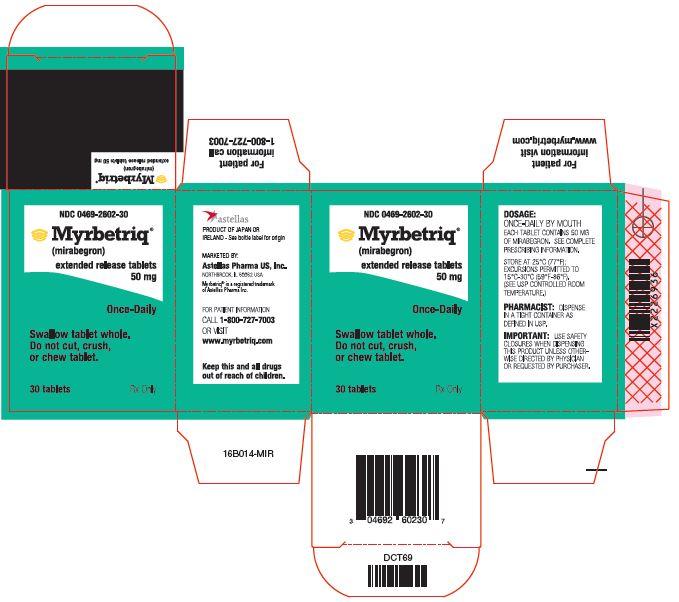Myrbetriq (mirabegron) extended release tablets 50 mg label