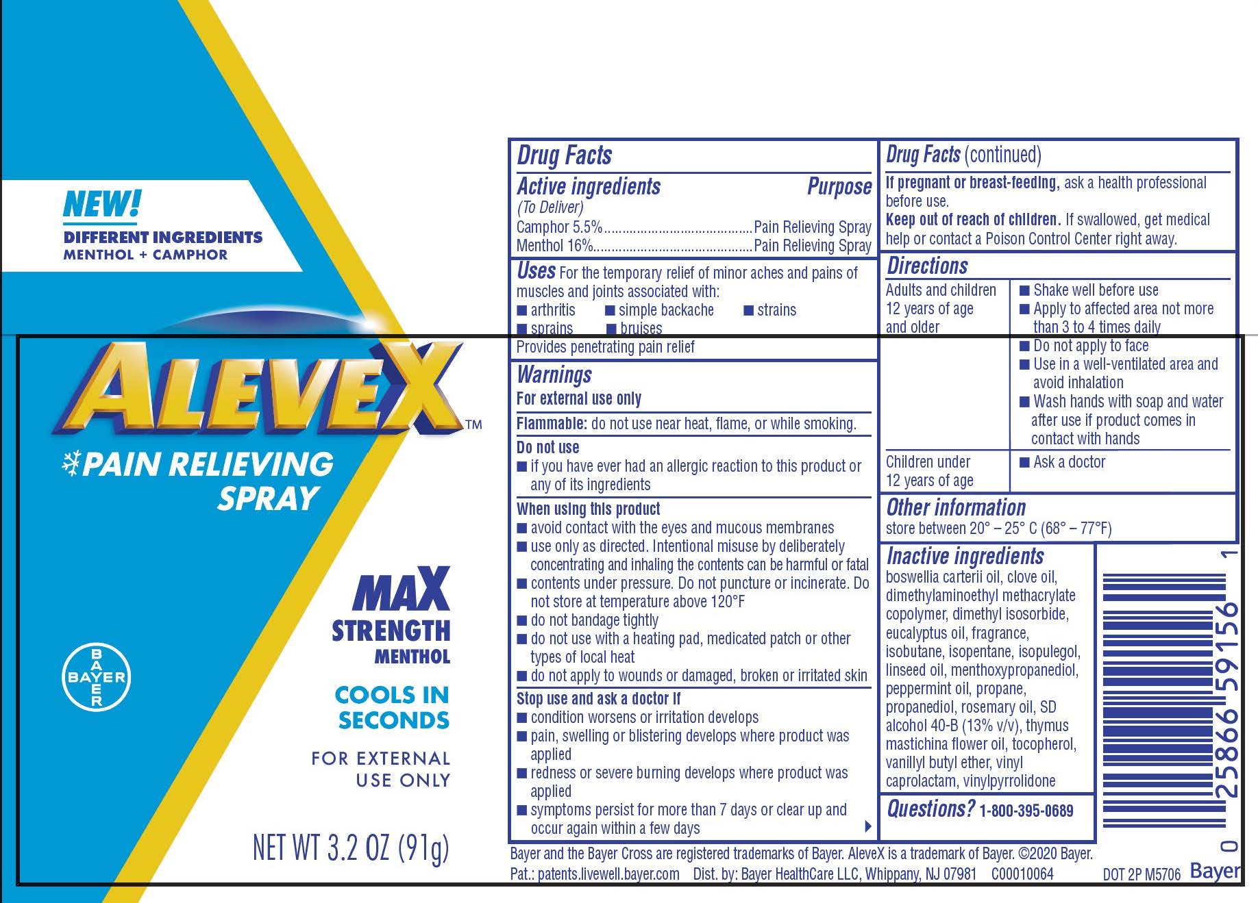 AleveX Dry Spray label