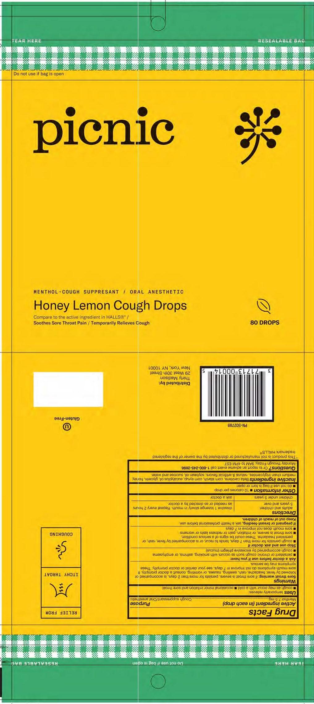 Picnic Honey Lemon 80ct Cough Drops