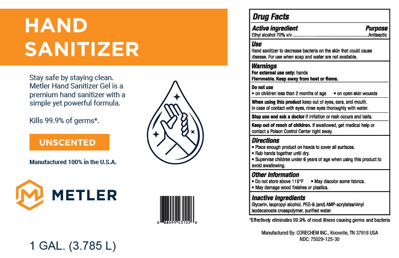 Metler Gel Hand Sanitizer - Unscented 1 GAL - NDC: <a href=/NDC/75029-125-30>75029-125-30</a>