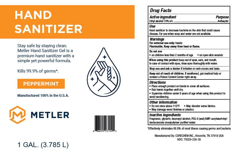 Metler Gel Hand Sanitizer - Peppermint 1 GAL - NDC: <a href=/NDC/75029-226-30>75029-226-30</a>
