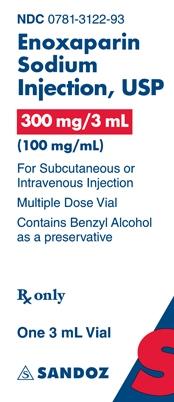 Enoxaparin Sodium 300 mg per 3 mL Vial Label