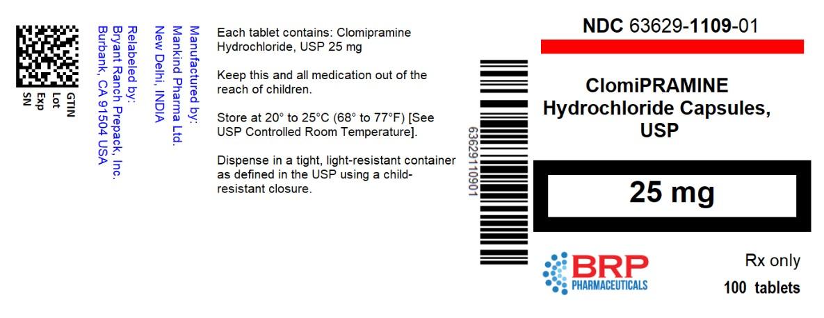 Clomipramine Hydrochloride Capsules, USP 25 mg Bottle Label