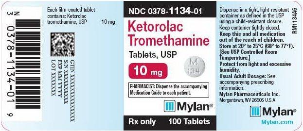 Ketorolac Tromethamine Tablets 10 mg Bottle Label
