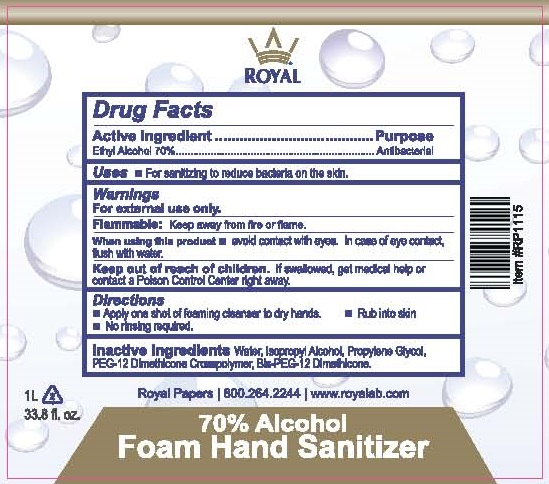 Royal Product_Labels_70pct Alcohol Foam Hand Sanitizer