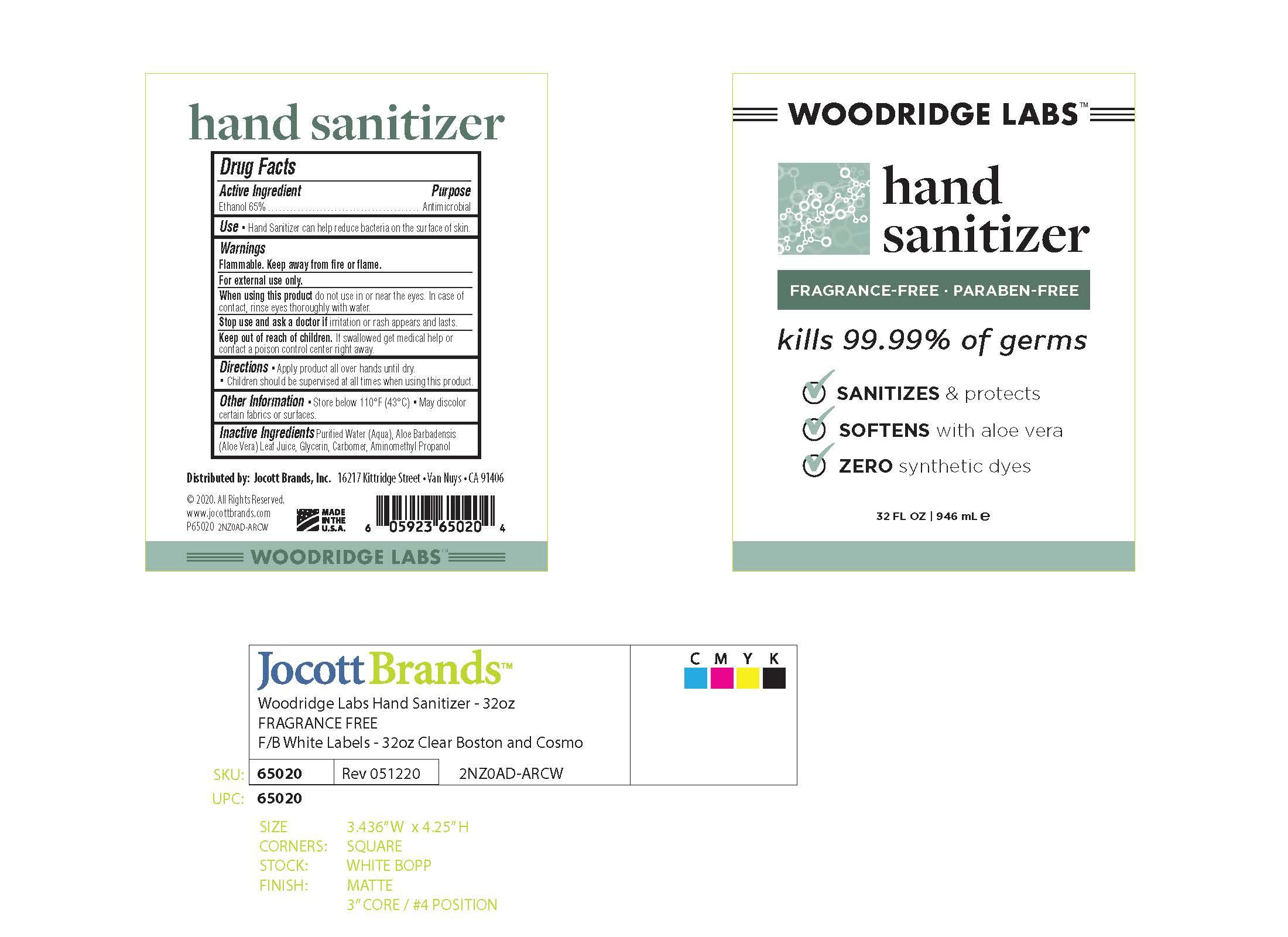 01b LBL_Woodridge Labs_Hand Sani 65pct EtOH_32oz