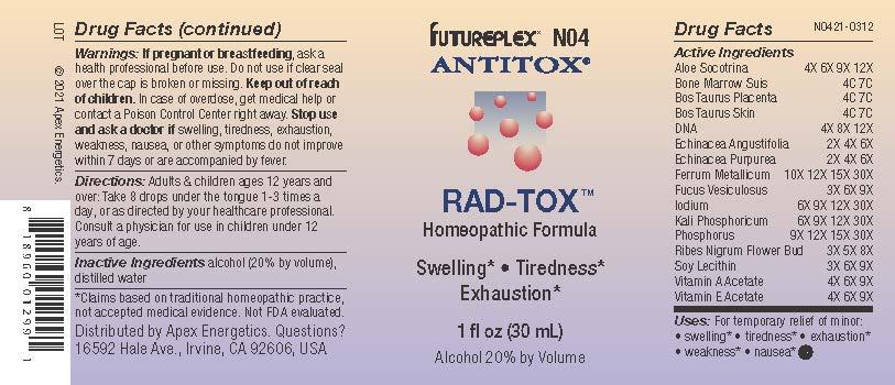 N04 RAD-TOX label N0421-0312