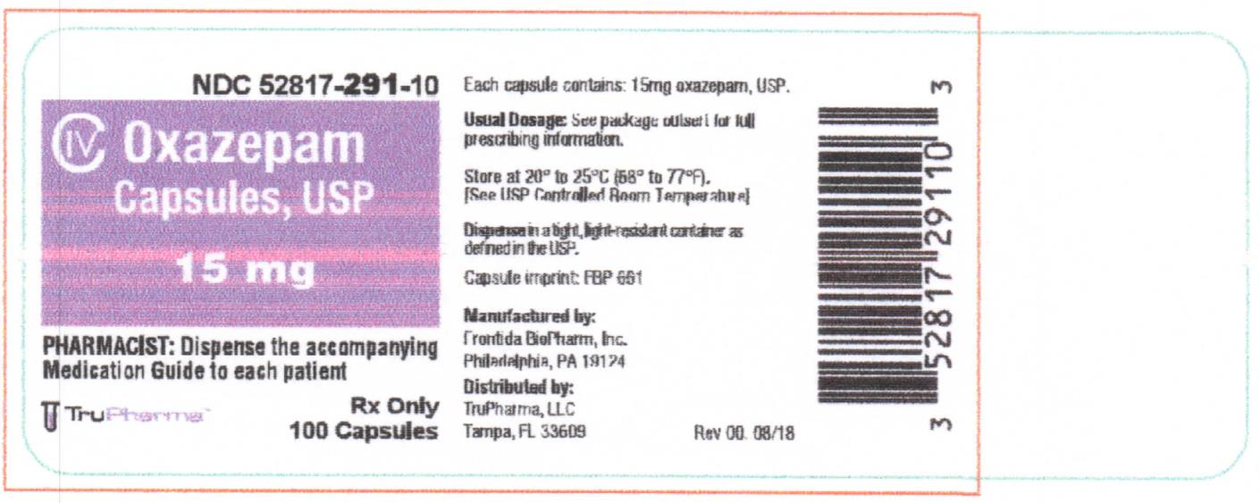 NDC 15 mg 52817-291-10   CIV Oxazepam Capsules, USP 15mg  PHARMACIST: Dispense the accompanying Medication Guide to each patient Rx only 100 Capsules TruPharma