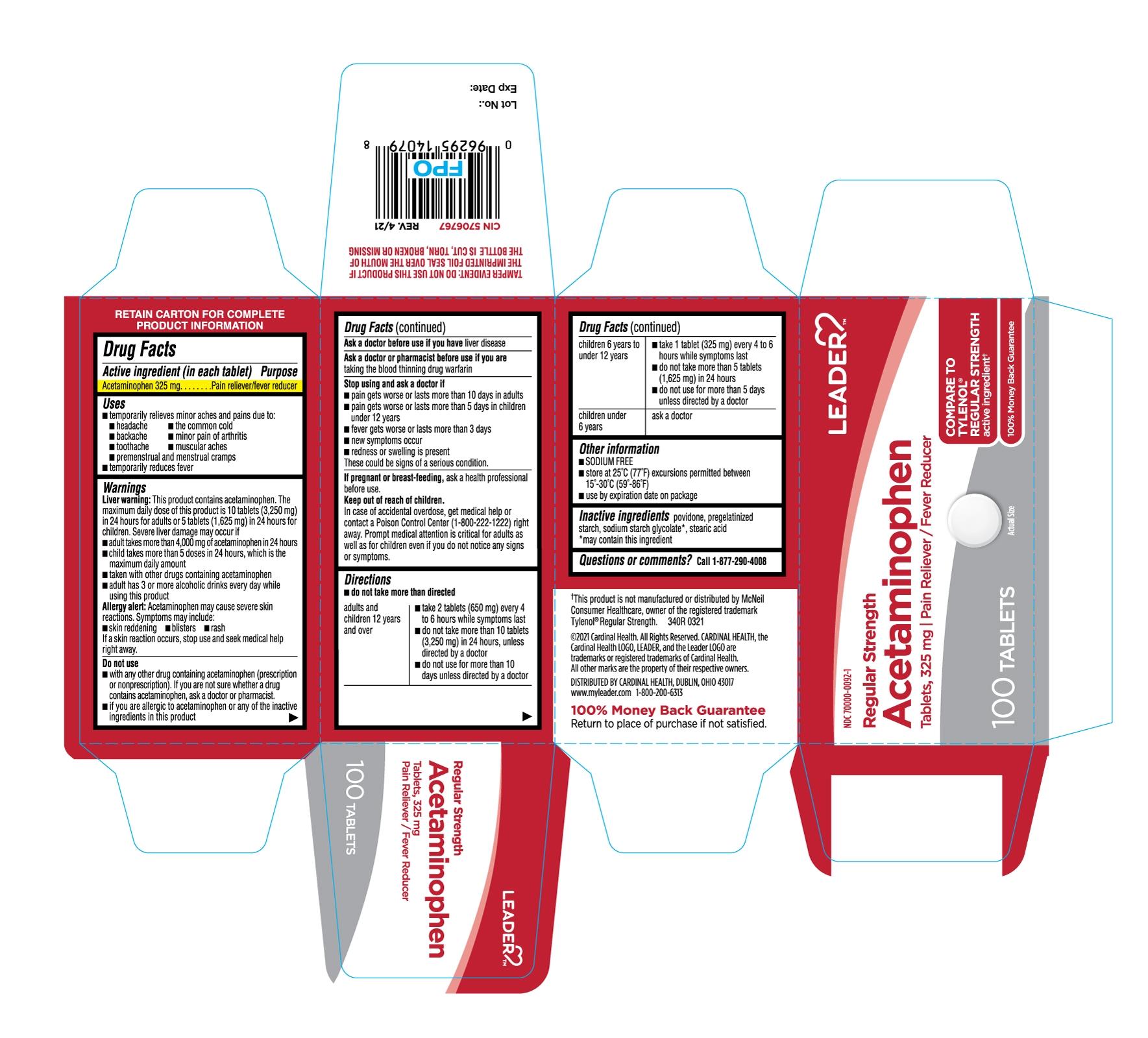 Acetaminophen Tablets 325mg-100ct-Carton