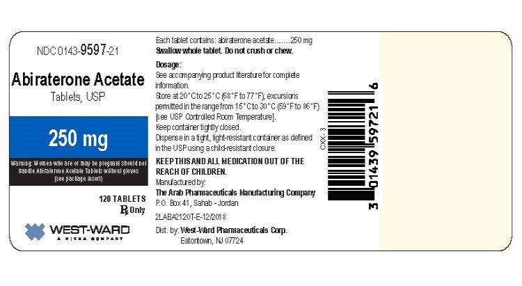 Abiraterone Acetate Tablets-250mg-NDC: <a href=/NDC/0143-9597-21>0143-9597-21</a>