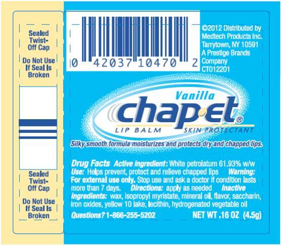 PRINCIPAL DISPLAY PANEL Vanilla chap-et LIP BALM SKIN PROTECTANT NET WT 0.16 OZ (4.5g)
