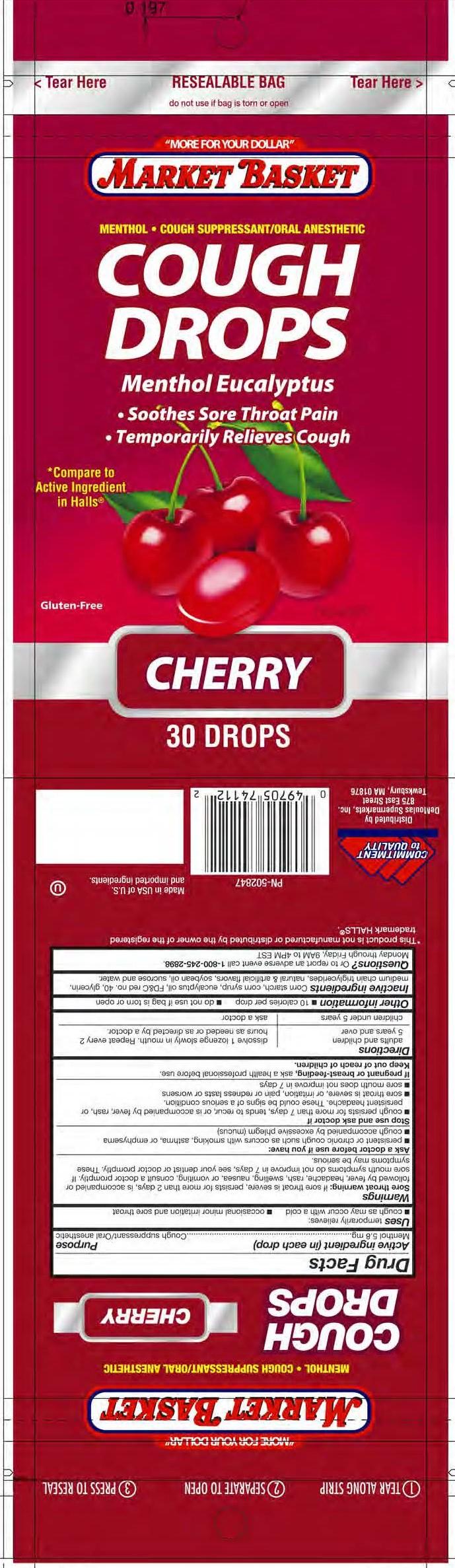 Market Basket Cherry 30ct Cough Drops
