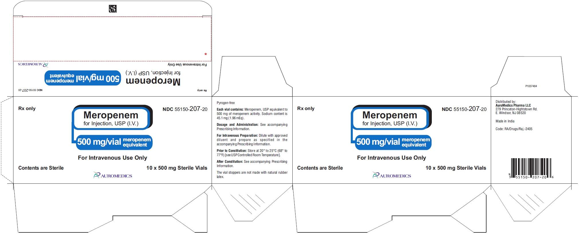 PACKAGE LABEL-PRINCIPAL DISPLAY PANEL - 500 mg/vial - Container-Carton (10 Vials)