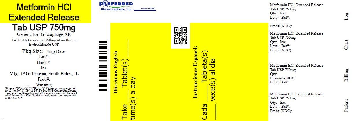 Metformin HCl Extended Release Tab. USP 750mg