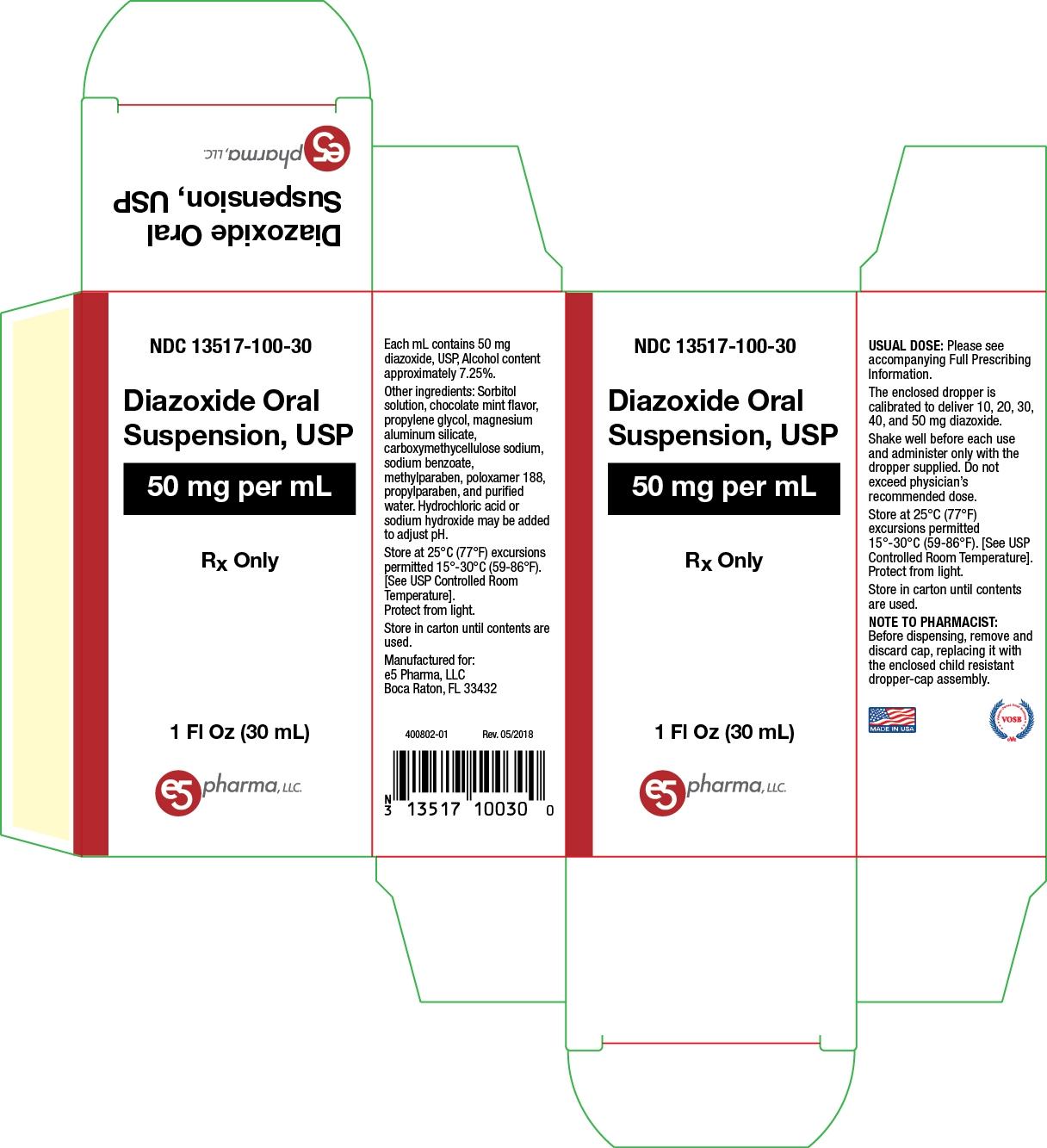 Diazoxide Oral Suspension, USP  50 mg/mL, 30 mL Carton