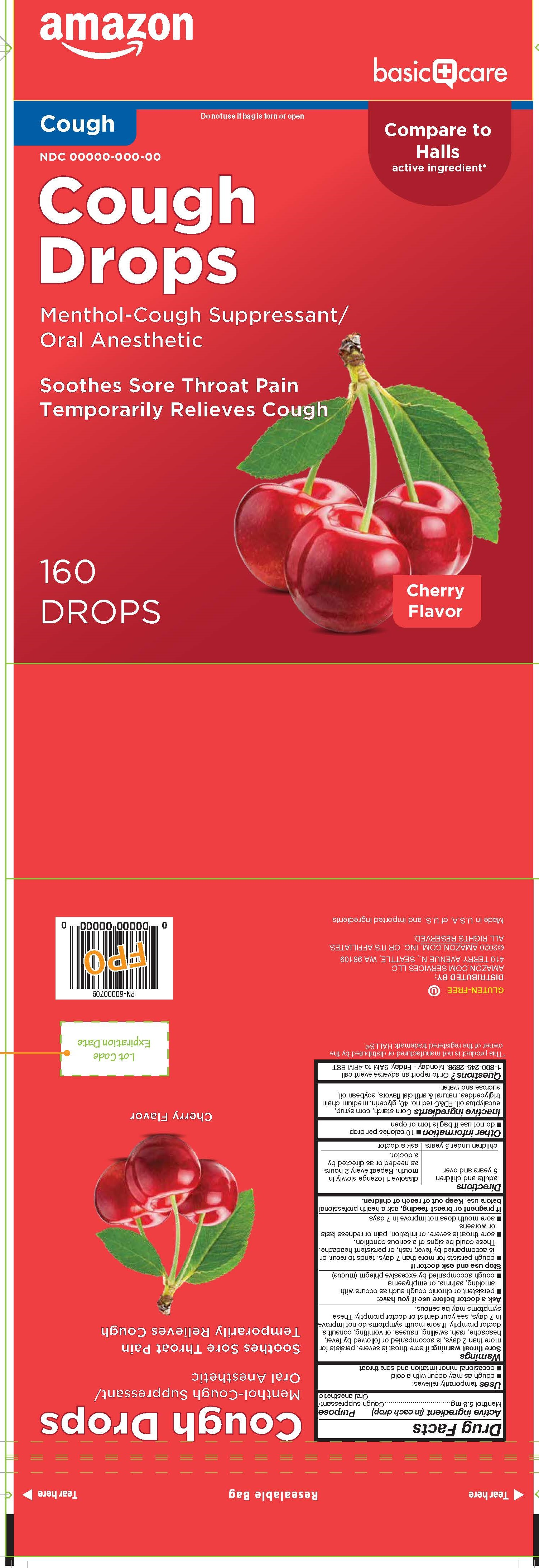 Basic Care Cherry 160ct Cough Drops