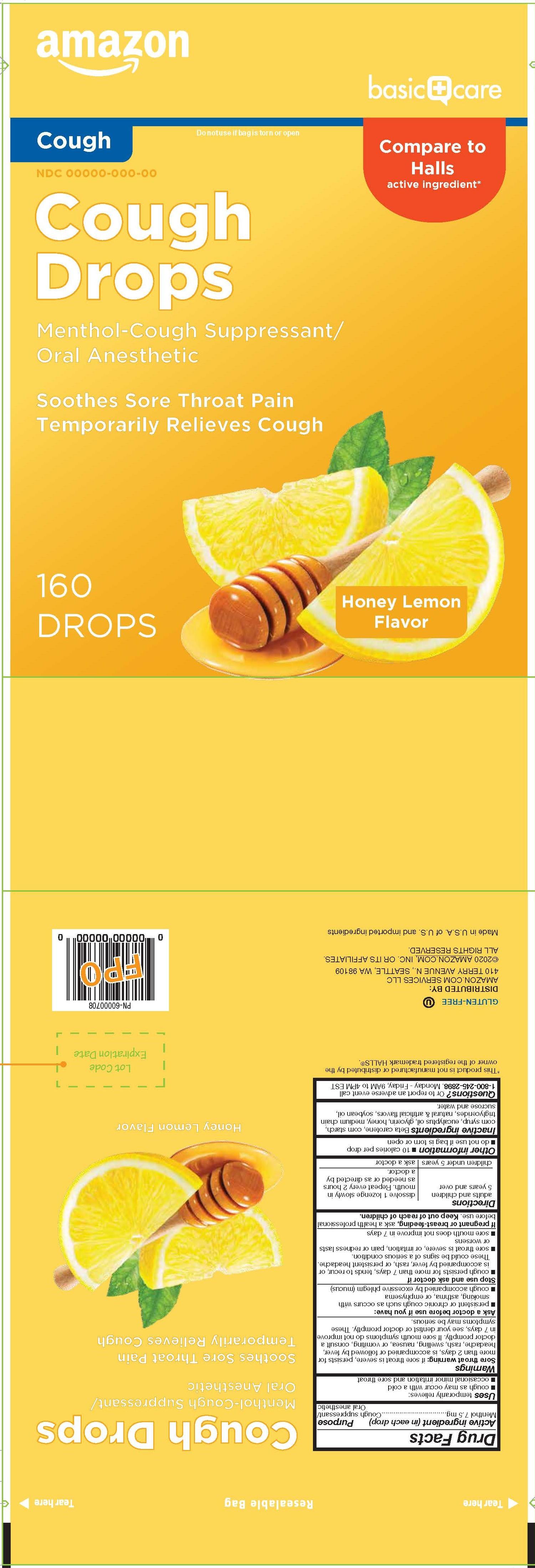 Basic Care Honey Lemon 160ct Cough Drops