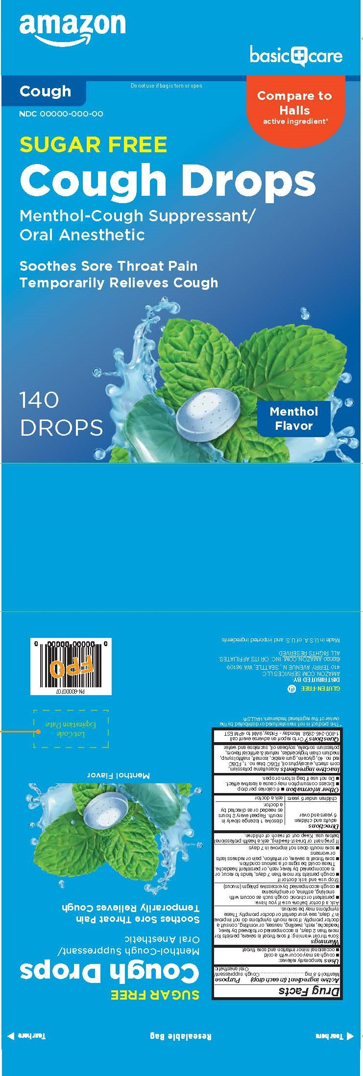 Basic Care SF Menthol 140ct Cough Drops