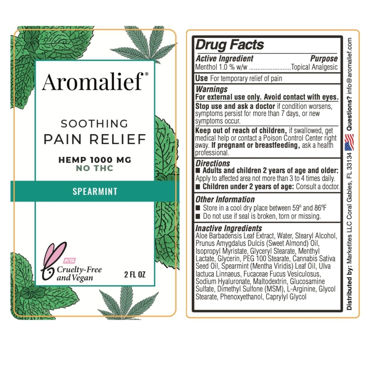 Aromalief Soothing Pain Relief Cream Spearmint 2oz