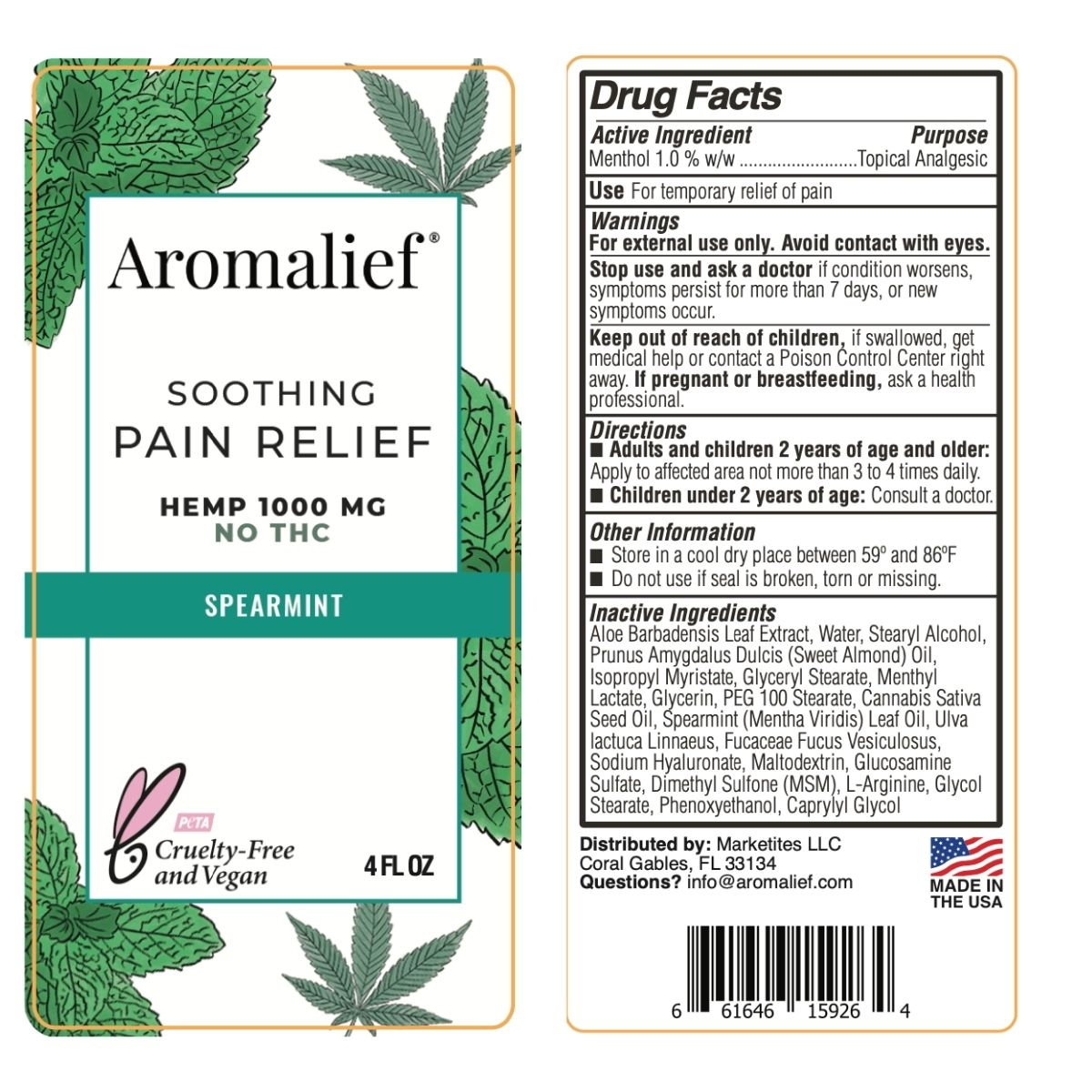 Aromalief Soothing Pain Relief Cream Spearmint 4oz