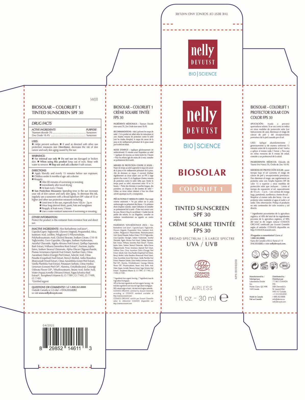 Nelly Devuyst Biosolar Colorlift 1 Tinted Sunscreen 30 mL