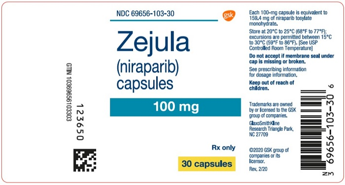 Zejula 100mg 30 count label