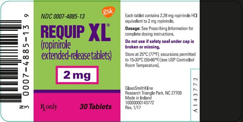 Requip XL 2 mg 30 count label