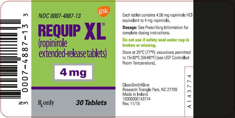 Requip XL 4 mg 30 count label