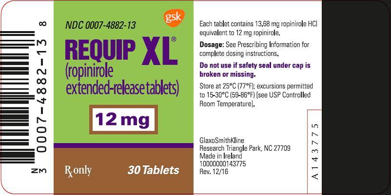 Requip XL 12 mg 30 count label