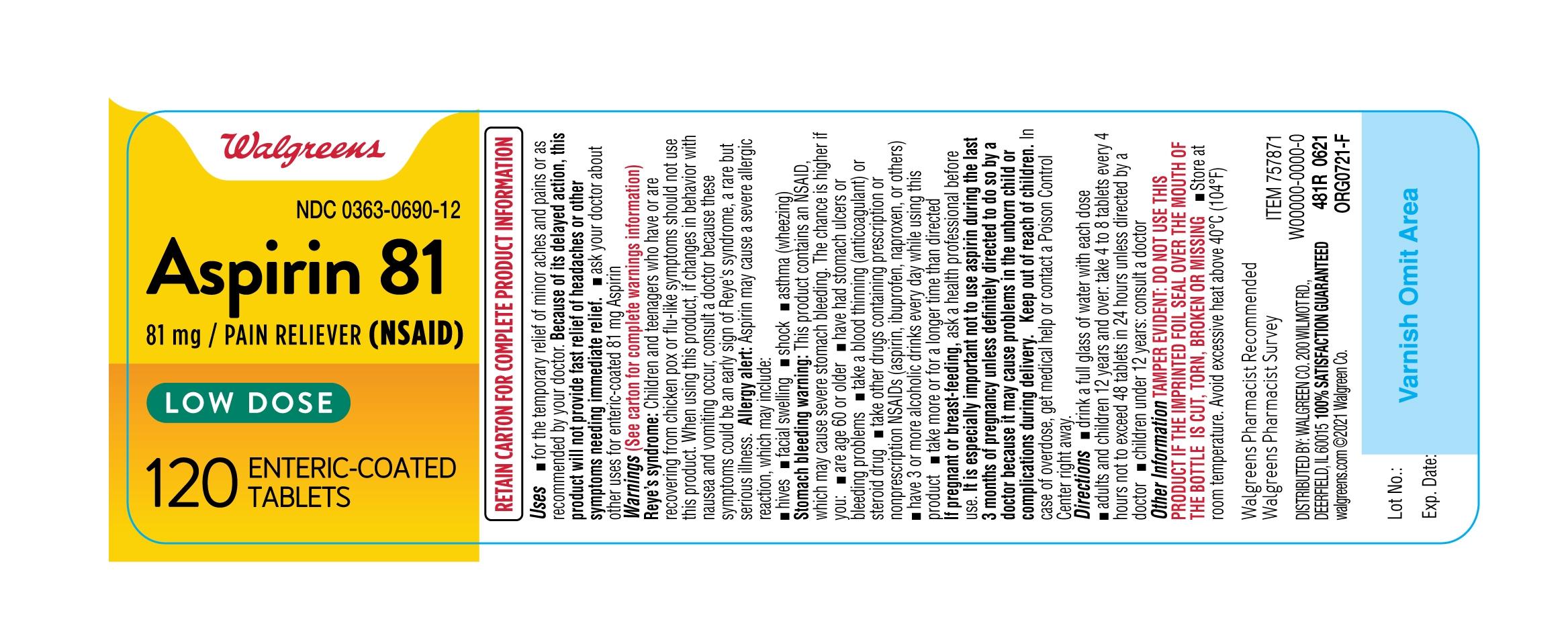 481R-Walgreens-Low Dose Aspirin-bottle label-ct120