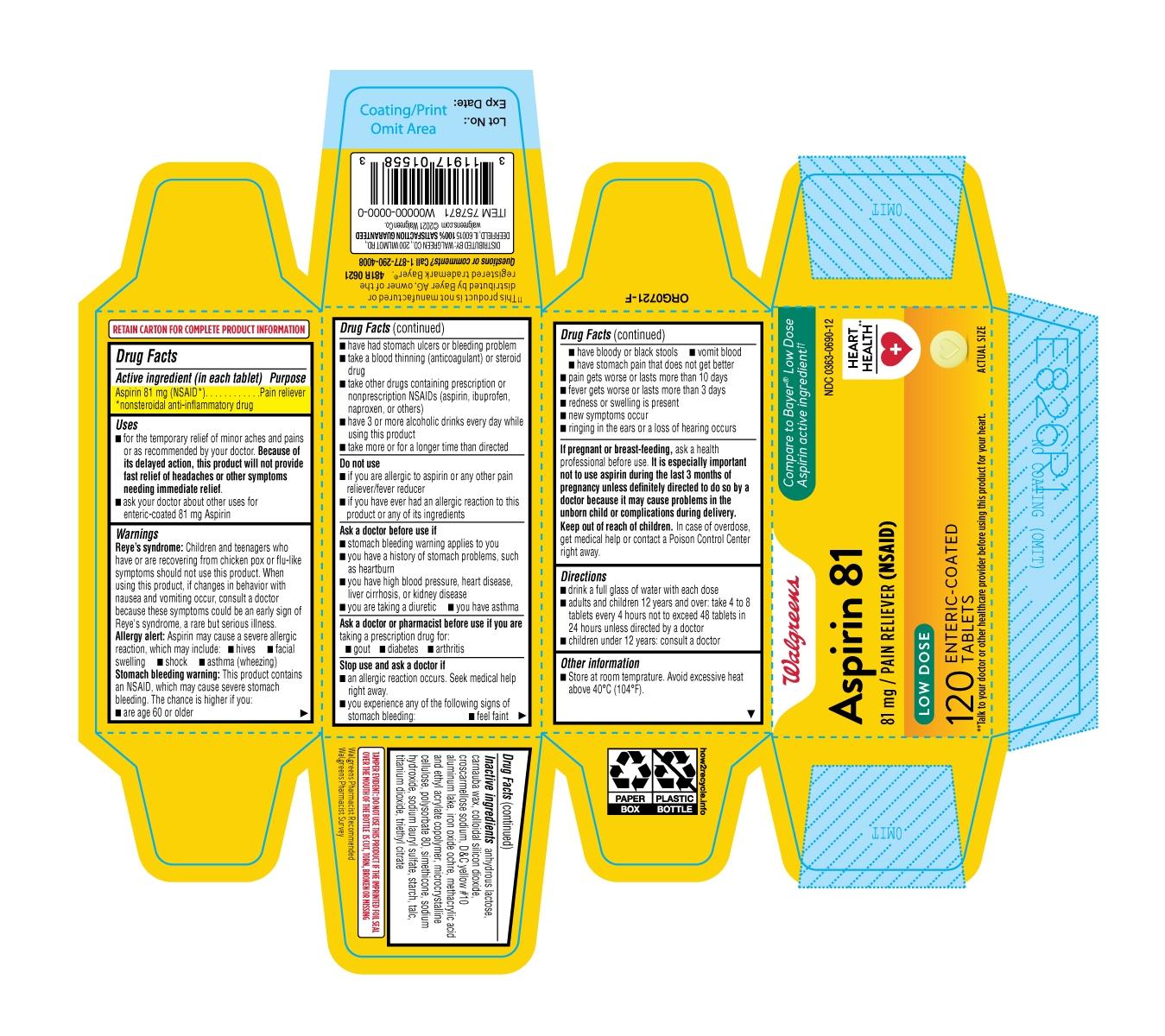 481R-Walgreens-Low Dose Aspirin-carton label-ct120