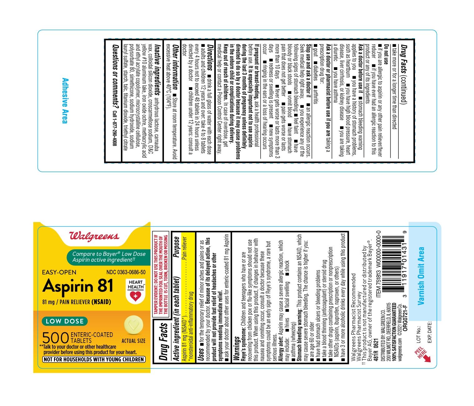 481R-Walgreens-Low Dose Aspirin-bottle label-ct500