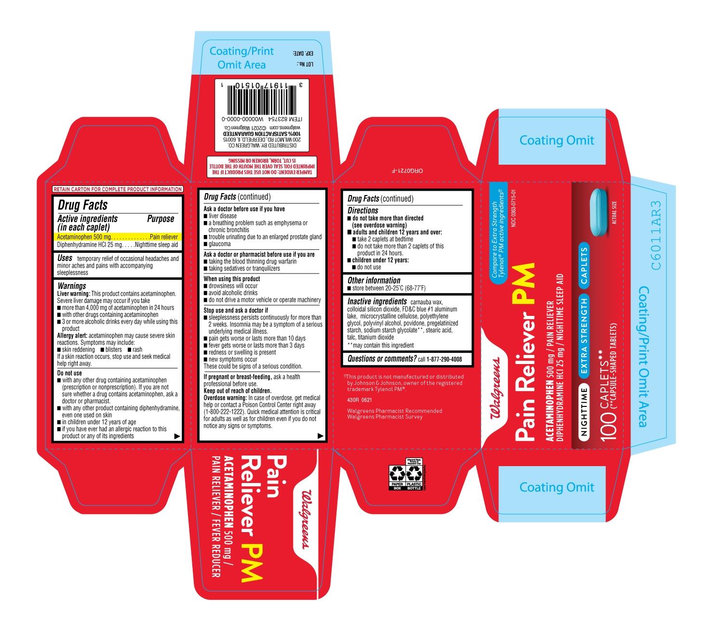 430R-Walgreens-Acetaminophen 500-mg-Diphenhydramine Hcl-carton-label-24ct
