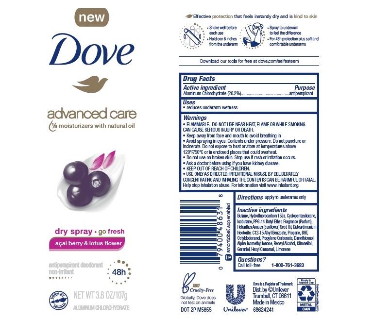 Dove Acai Berry Dry Spray AP Deo AE