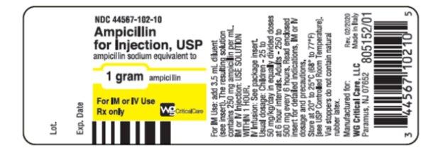 Ampicillin 1 gram vial label