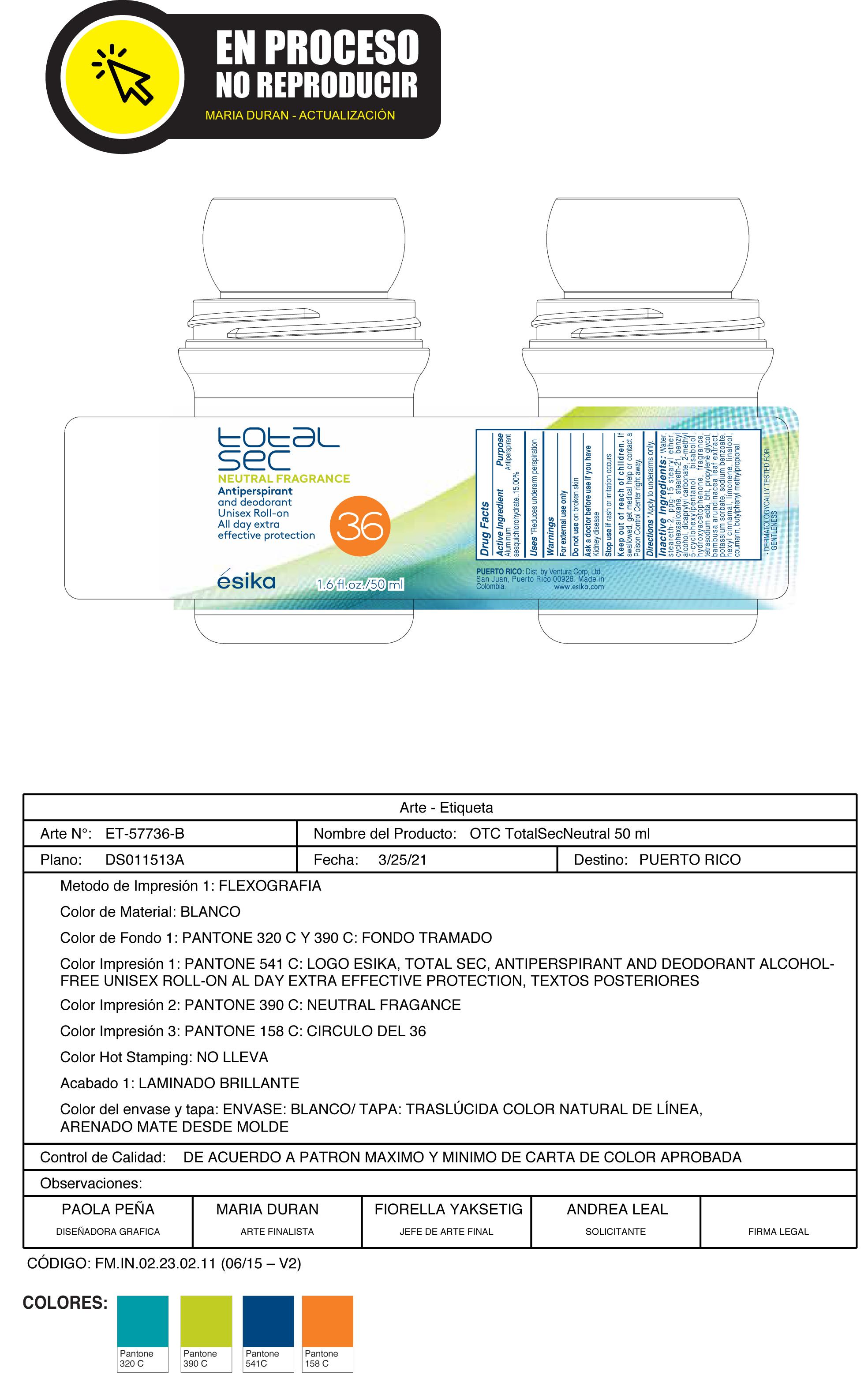 Total sec neutral fragrance anti-per