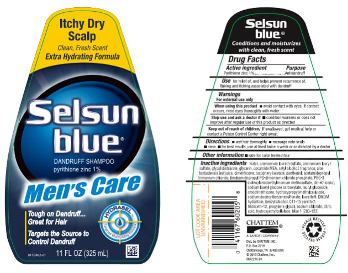 Itchy Dry Scalp Clean, Fresh Scent Extra Hydrating Formula Selsun blue® DANDRUFF SHAMPOO pyrithione zinc 1% Men's Care HYDRASELtm Targeted Moisturizing Formula 11 FL OZ (325 mL)