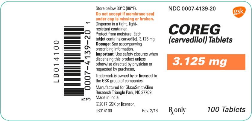Coreg 3.125 mg 100 count label